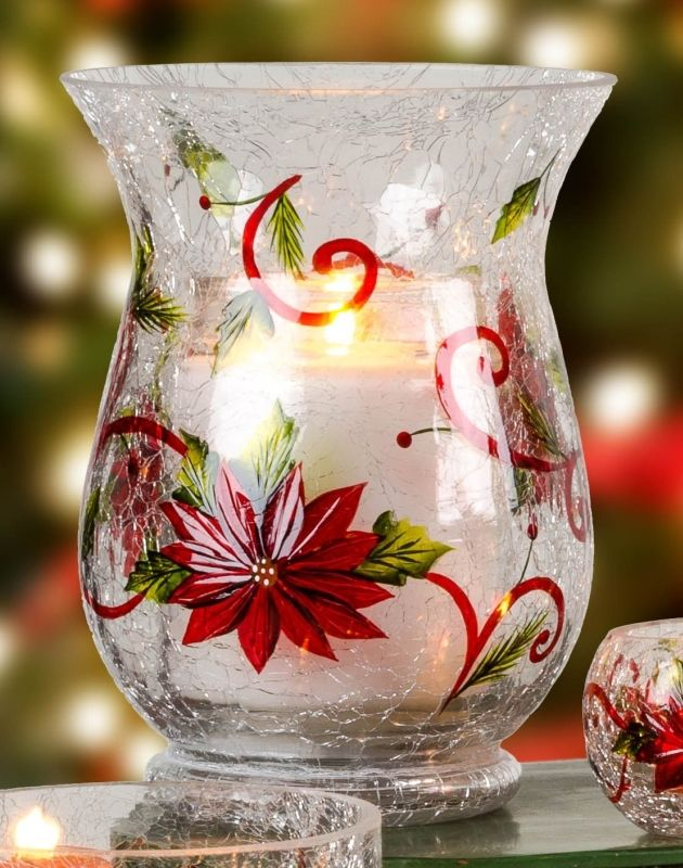 Poinsettia pillar candle holder poinsettia swirl crackle for Christmas pillar candle holders
