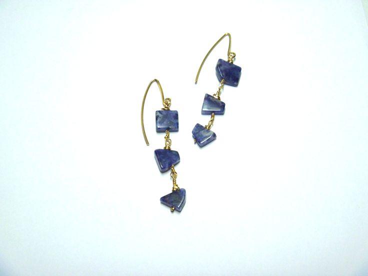 Blue Sodalite and Brass Dangle Earrings