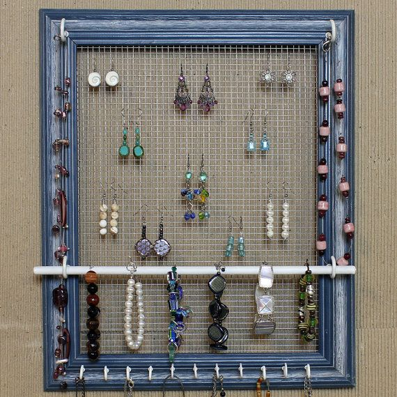 "CUSTOM Jewelry Organizer Display AQUA Picture Frame- 14""x17""- Large"