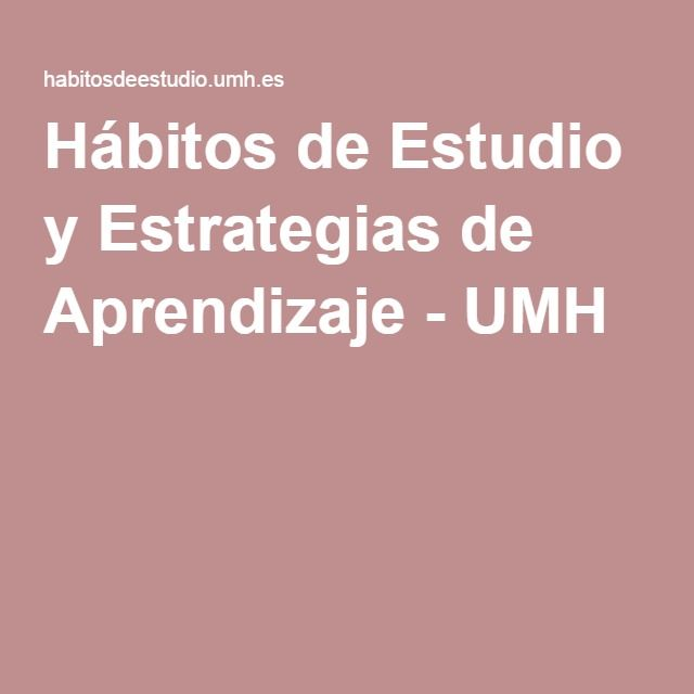 Hábitos De Estudio Y Estrategias De Aprendizaje Study