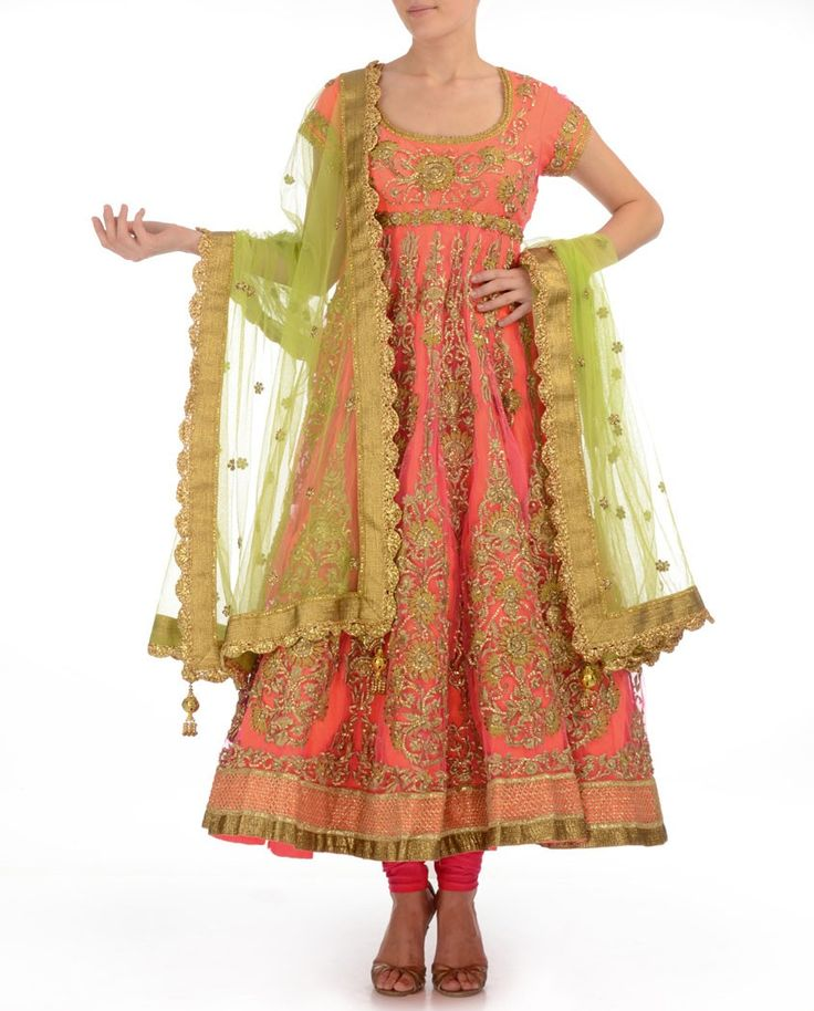 Candy Pink Anarkali Suit with Zari Work - Buy Preeti S. Kapoor Online | Exclusively.in Shop Online | Indian Bridal Wear | Wedding Wear