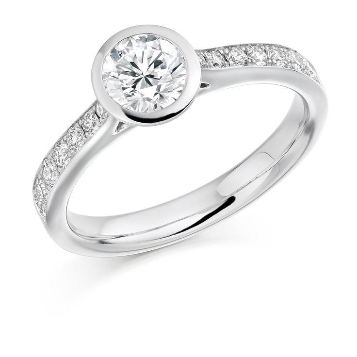 Rubover Set 0.50ct Round Brilliant Cut Diamond Solitaire Ring