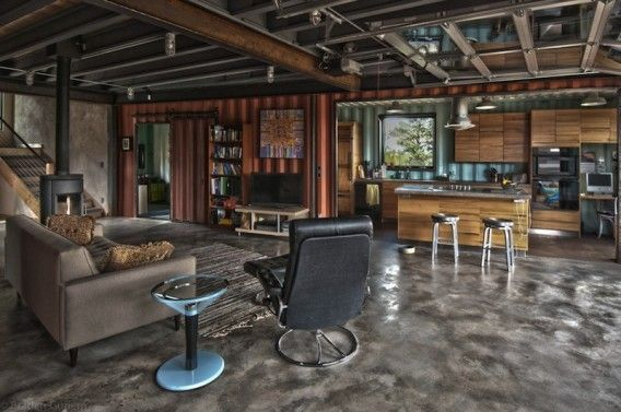 More interior of Colorado house. This is a shipping container home! http://www.jetsongreen.com