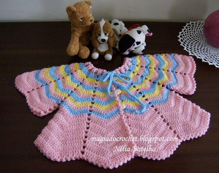 Magia do Crochet: Casaco de crochet, rosa/azul/amarelo - como fazer