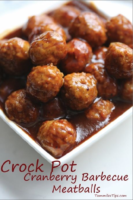 Yum! Crock Pot Cranberry Barbecue Meatball Recipe! This Slow Cooker Appetizer Recipe tastes amazing!