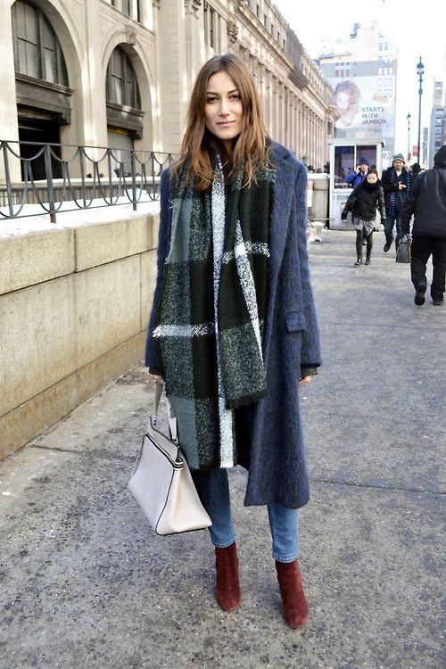 Denim with oxblood booties, plaid scarf, Celine Edge.
