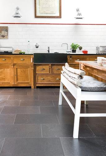Love this floor!! Big grey cork tile floor in kitchen. http://m.flickr.com/#/photos/realcorkfloors/5198721965/in/photostream/