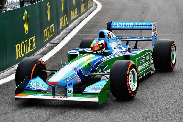 Poignant moment Mick Schumacher drives his dad Michael's F1 car on 25th anniversary of first win - Mirror Online