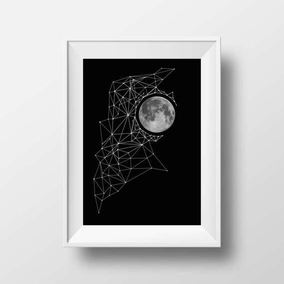 Printable Art Triangles Moon Geometric Art Black by KYLprintable