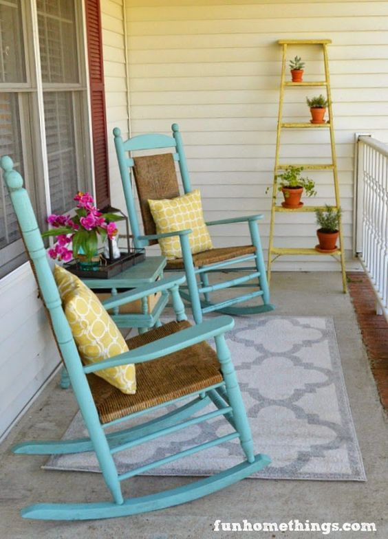 Fun front porch makeover for Spring