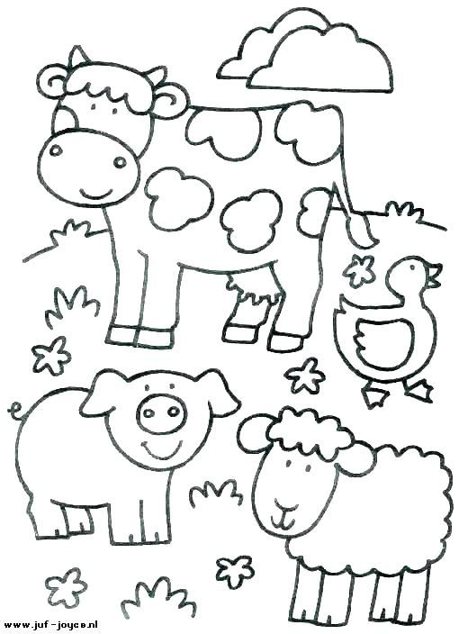 Farm Animal Coloring Book Printable Children Animals Pages Free