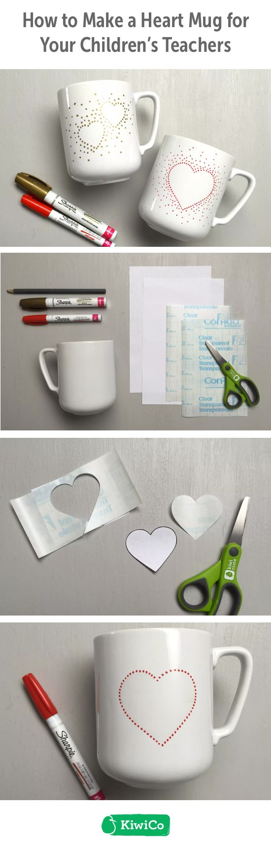 Heart Mug DIY. This do-it-yourself craft is great for Valentine's Day gifts for teachers, friends, and family. You can work together with your girls, boys, toddlers, and teens to show your appreciation for special ones. This is an inexpensive art project that will last for years! All you need is contact paper, a mug, and permanent paint pens. #STEAM