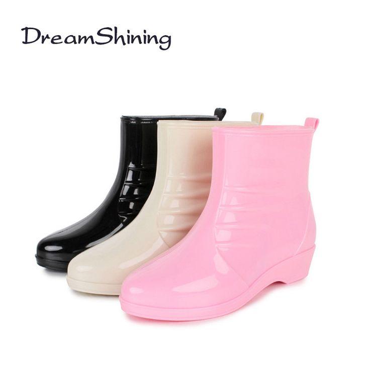 DreamShining Новая Мода Дождь Сапоги Сексуальные Круглым Носком Ботинки Женщин Скольжения На Ботильоны Случайные Платформа Резиновая Женская Обувь Женщина купить на AliExpress