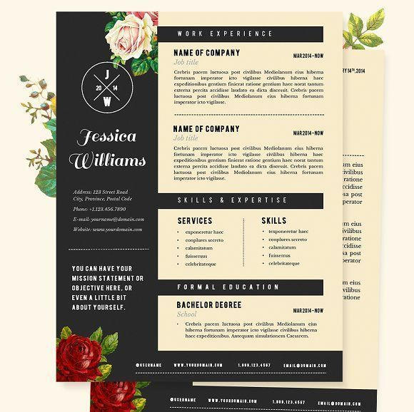 Hipster Resume, CV Template Pkg. by JannaLynnCreative on @creativemarket Professional printable resume / cv cover letter template examples creative design and great covers, perfect in modern and stylish corporate business design. Modern, simple, clean, minimal and feminine style. Ready to print us letter and a4 layout inspiration to grab some ideas. In psd, indd, docs, ms word file format. #resume #cv #template #professional #word #modern #creative #design