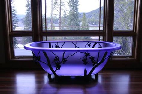 Frosted purple glass tub. I'm in love....