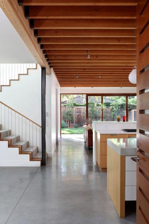 Concrete floor wood white