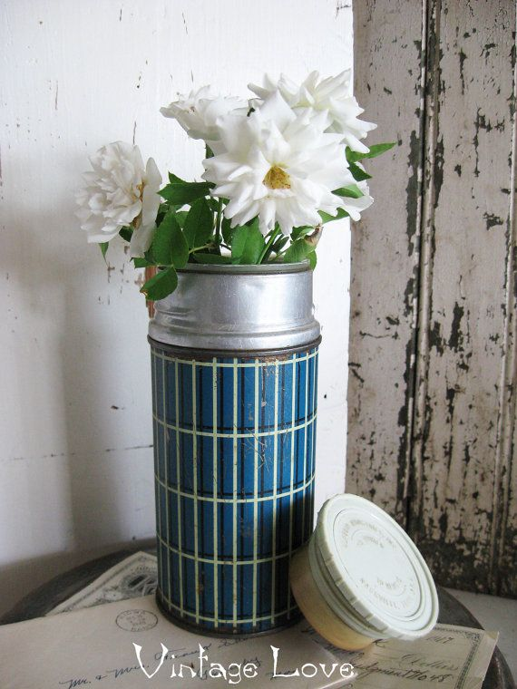 Vintage Aluminum Thermos Blue and White by SweetMagnoliasFarm, $12.50