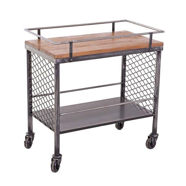 Industrial Troley - Carrinho de chá, café ou bebidas, estilo industrial em metal e madeira com rodas. Fabricação  Ignis Industrial.