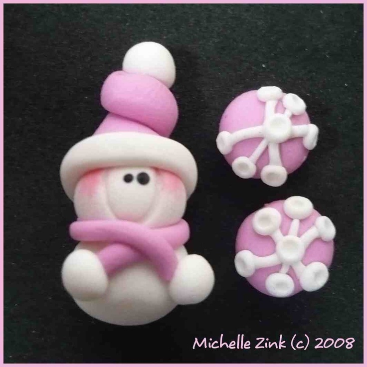 Snowman would make a cute pendant and the snowflakes earstuds