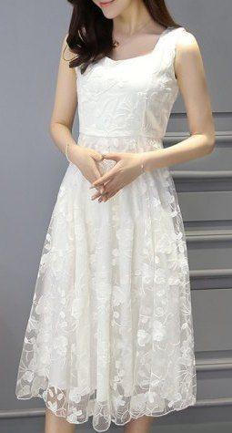Stylish Women's Sleeveless A-Line Lace Dress