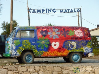 Matala Hippie VW Bus - Crete, Greece Hippie VW bus in Matala, Crete.