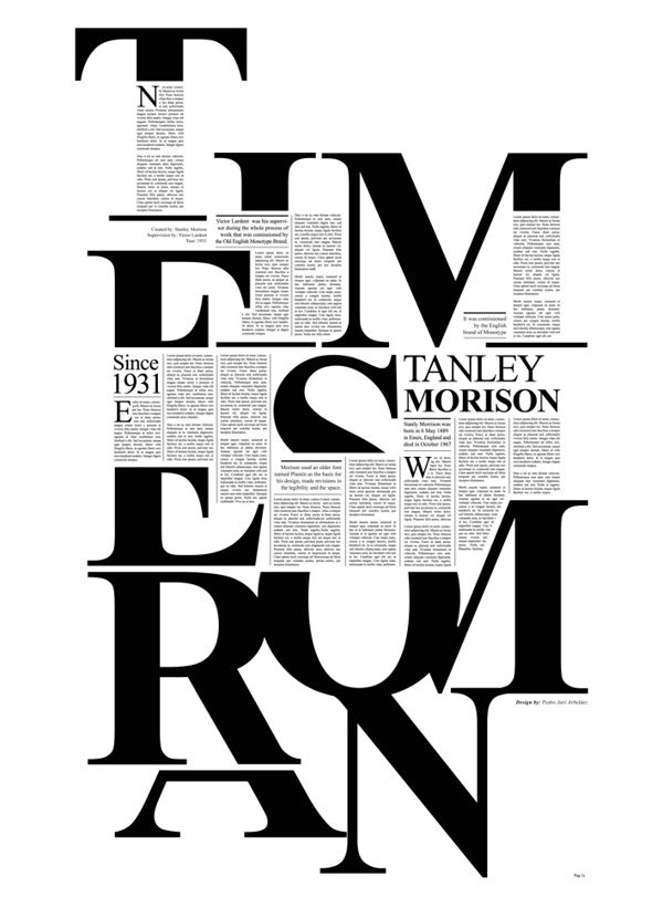 Times New Roman by Pedro Javier Arbelaez, via Behance (Proof that it is possible to make Times New Roman look interesting.)