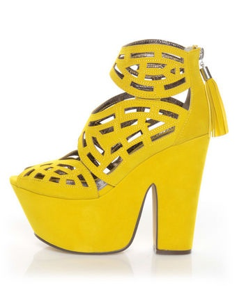 only thing I don't like about these is the silver on the tassel. Not a fan of silver, but everything else...WORKS!: Michael Antonio, Cutout Platforms, Gallista Yellow, Yellow Velvet, Studio Gallista, Velvet Cutout