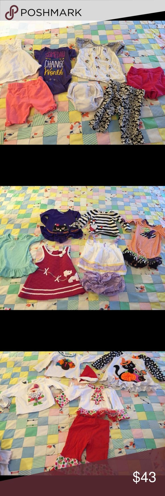 Baby Toddler Lot of 25 Pcs Gymboree Mud Pie More Baby toddler 25 pieces. Name brands! Sizes range from 6-9 months, 9-12 months, 12-18 months and 2T.  Some of the name brands are:  Mud Pie Garanimals Charters Allison Ann Gymboree Oshkosh Babyberl Peaches and Cream There are some stains here and there on most. They are light stains mainly on the white fabric of clothing. Hard to see in pics, but they are there so please know these do have stains! All have been washed and are clean. Otherwise…
