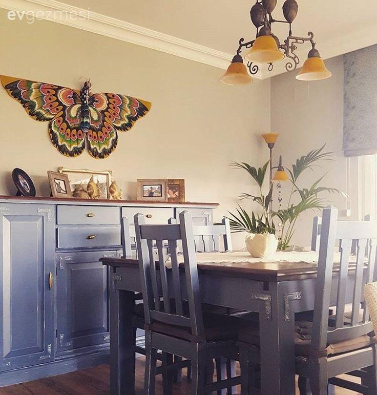 Yemek Odası, Mavi, Konsol, Duvar dekorasyon, Avize