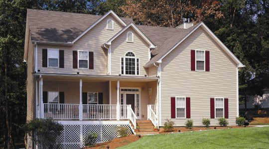 Light Tan Siding With Maroon Shutters Remodel Siding And Gable Ideas Pinterest Exterior