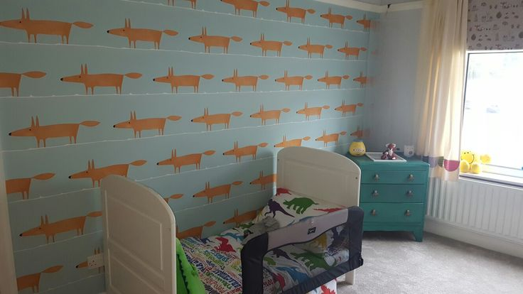 Love #mrfox wallpaper by #scion for my #childsbedroom