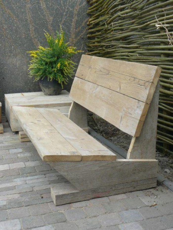 banc de jardin leroy merlin en bois clair, mobilier de jardin pas cher