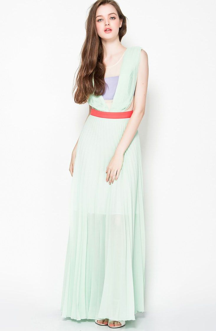 Green Sleevless Sheer Top Blocking Maxi Dress US$17.99