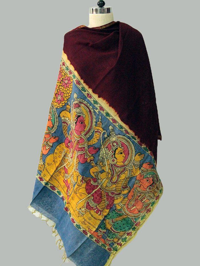 Maroon - Multicolor Chanderi Kalamkari Dupatta