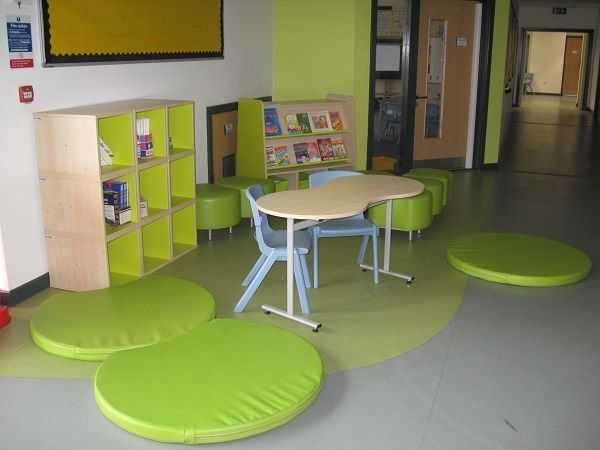 School shared area/breakout space furnished with Trudy furniture in Lime