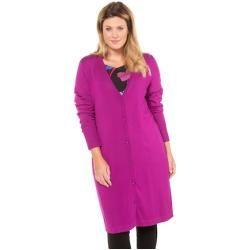 Ulla Popken longcardigan, smooth fine knit, A-line, selection – Large size …