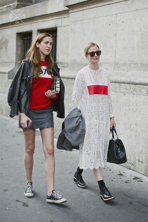 Red on Paris Street Style