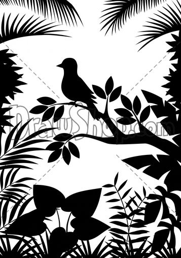 Nature bird scene art silhouette stencil patterns for Ponteggio ceta dwg