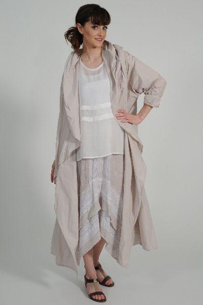 Gracie silk georgette top, Fizz linen skirt, Ko-tu taffeta coat, Identity leather sandal