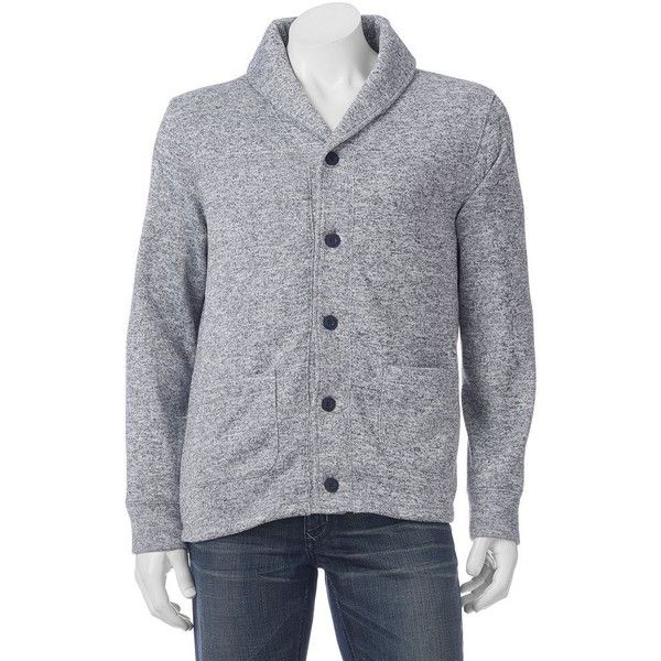 Men's SONOMA Goods for Life™ Shawl Cardigan Sweater ($60) ❤ liked on Polyvore featuring men's fashion, men's clothing, men's sweaters, grey, mens gray sweater, mens sweaters, mens cardigan sweaters and mens grey sweater