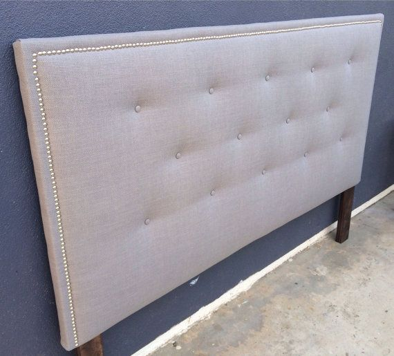 Queen or Full Size Headboard Button Tufted and Nail Head Trim  . Headboard is 55 h x 3 d Gray linen fabric shown and is color option #2.  With a nickel