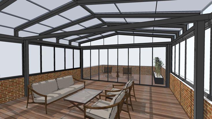SPACEline Zimná záhrada  ocelova konstrukcia,  ramovy posuvny system Multiraum ramovy posuvno-otocny system Sunflex sf35