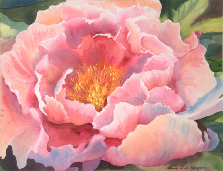 """Peony"" watercolor by Laura Kirste Campbell"