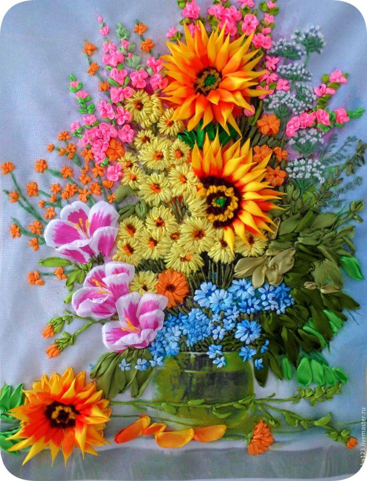 Купить ЛЕТНИЙ БУКЕТ - хризантемы, незабудки, габардин, ленты атласные