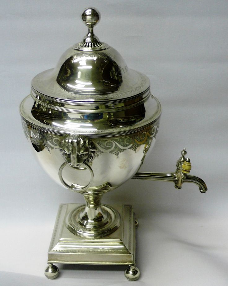 """Thomas Graham / English Georgian sterling silver tea urn with lions mask handles and ivory tap knob, engraved border decoration, lid w/ stag crest to one side and the Scottish family name """"Fraser"""" engraved to the other, 1792, London, England [teapot]"""