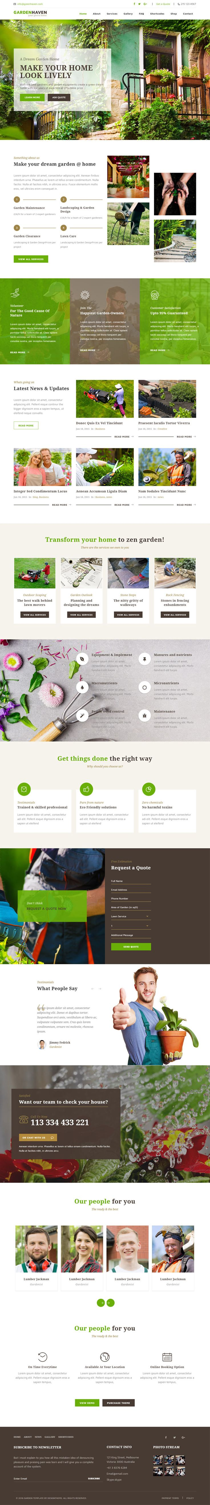 Gardenhaven WordPress theme compiled with fetching design and features well suits for creating attractive gardening websites.