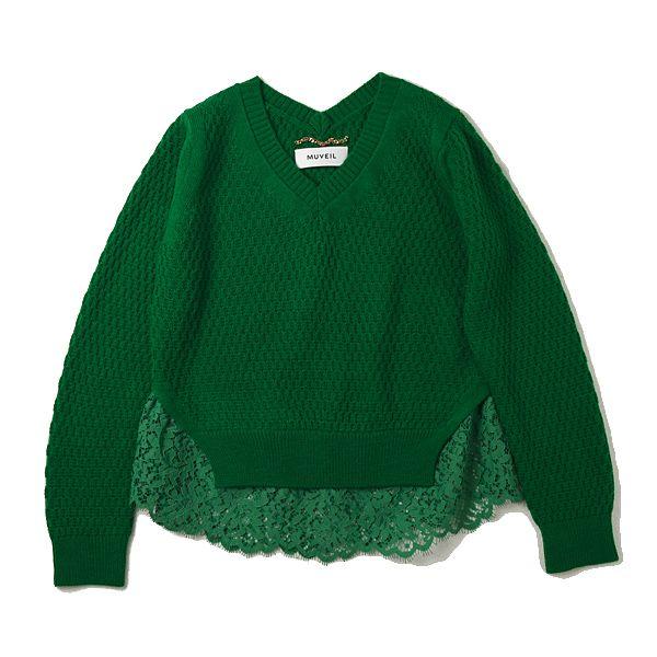MUVEIL レースドッキングセーター