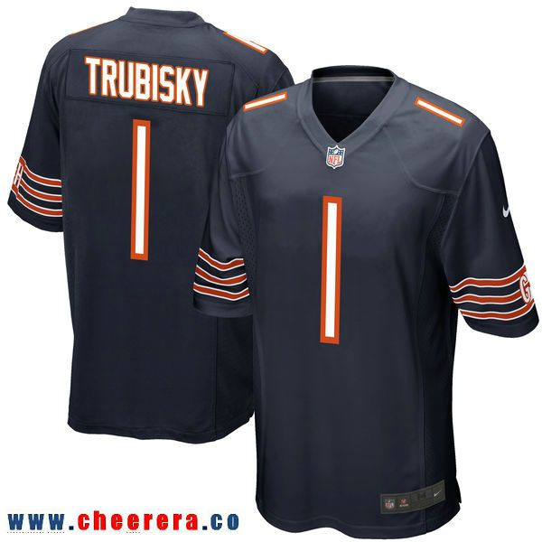 Nike Chicago Bears #1 Mitchell Trubisky Navy 2017 Draft Pick Elite Jersey