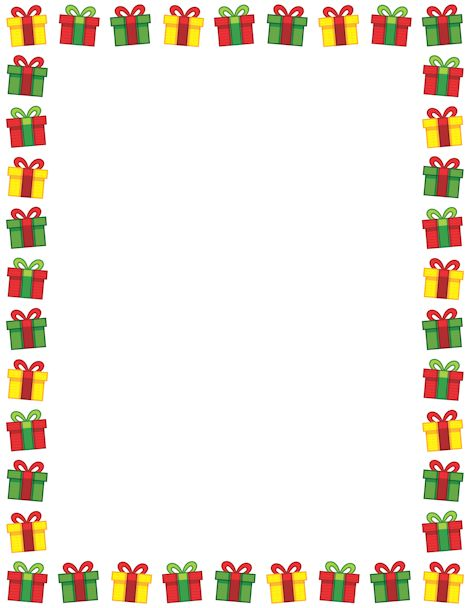 Printable Christmas present border. Free GIF, JPG, PDF, and PNG downloads at http://pageborders.org/download/christmas-present-border/. EPS and AI versions are also available.