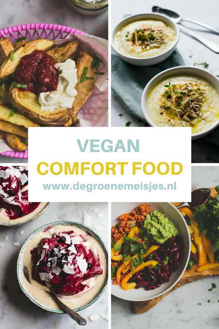 Mijn favorete vegan comfort food: vega burger, chili sin carna, curry met kokosmelk, pasta pesto, linzen of zoete aardappel soep, nacho's en banana softserve. Lees de recepten op de blog
